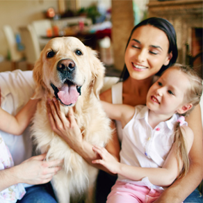 family with retriever